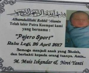 di pamulang ada bayi bernama pajero sport